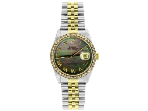 Men's Rolex Datejust 36mm 16233 Unisex Black MOP Yellow Gold 36mm PRE-OWNED - Global Timez