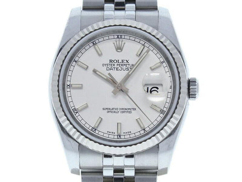 Men's Rolex Datejust 36mm 116234 Unisex White Index White Gold 36mm PRE-OWNED - Global Timez