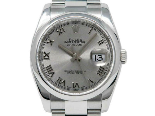 Men's Rolex Datejust 36mm 116200 Unisex Silver Roman Steel 36mm PRE-OWNED - Global Timez