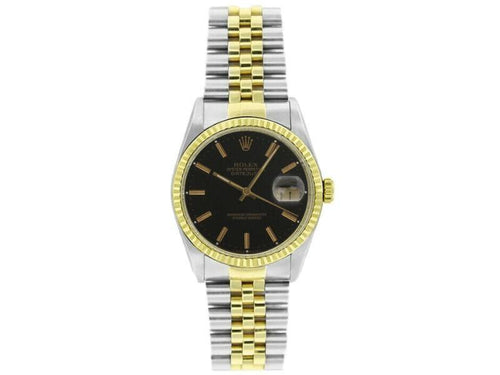Men's Rolex Datejust 36mm 16233 Unisex Black Index Yellow Gold 36mm PRE-OWNED - Global Timez
