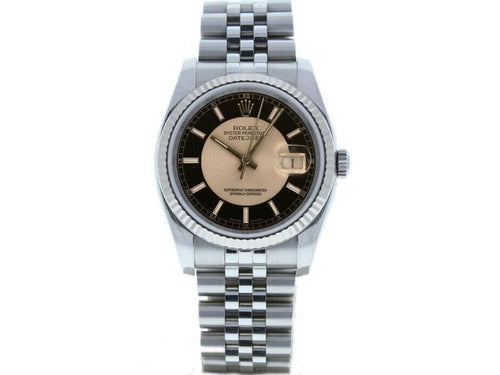 Men's Rolex Datejust 36mm 116234 Unisex Black Tuxedo White Gold 36mm PRE-OWNED - Global Timez