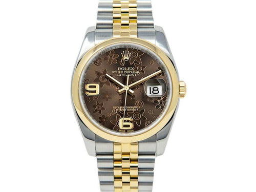Men's Rolex Datejust 116203 Unisex Chocolate Floral Yellow Gold 36mm BRAND NEW - Global Timez