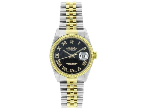 Men's Rolex Datejust 36mm 16233 Unisex Black Roman Yellow Gold 36mm PRE-OWNED - Global Timez