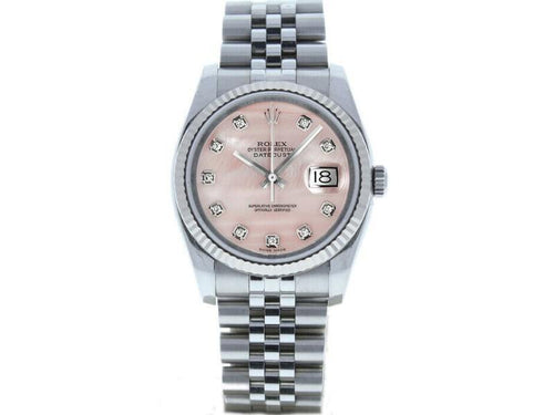 Men's Rolex Datejust 116234 Unisex Pink MOP Diamond White Gold 36mm PRE-OWNED - Global Timez