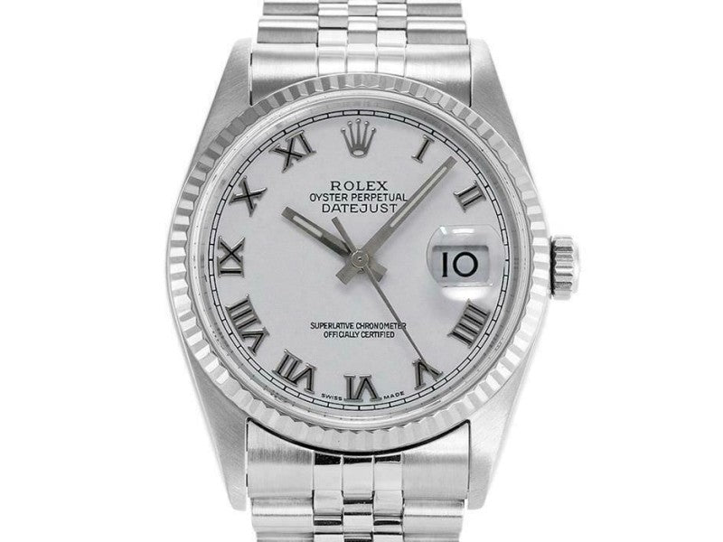 Men's Rolex Datejust 36mm 16234 Unisex White Roman White Gold 36mm PRE-OWNED