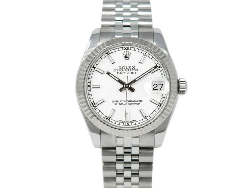 Ladies Rolex 178274 Datejust 31mm Stainless Steel White PRE-OWNED - Global Timez