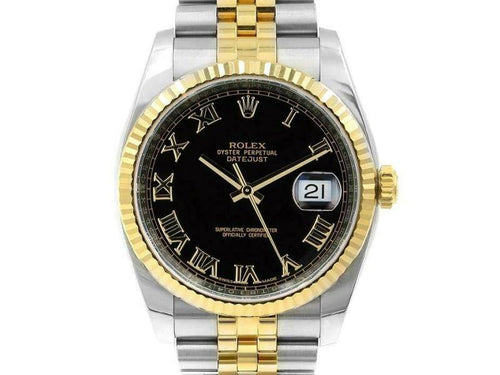 Men's Rolex Datejust 36mm 116233 Unisex Stainless Steel Automatic Black PRE-OWNED - Global Timez