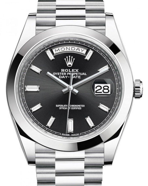 Men's Rolex Day-Date 40 Platinum Black Diamond Dial & Smooth Bezel President Bracelet 228206 - BRAND NEW - Global Timez