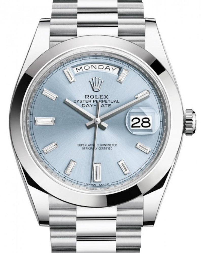 Men's Rolex Day-Date 40 Platinum Ice Blue Diamond Dial & Smooth Bezel President Bracelet 228206 - BRAND NEW