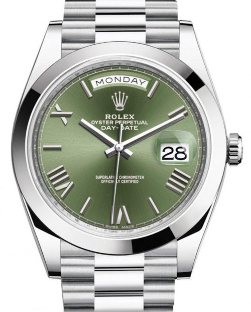 Men's Rolex Day-Date 40 Platinum Olive Green Roman Dial & Smooth Bezel President Bracelet 228206 - BRAND NEW - Global Timez