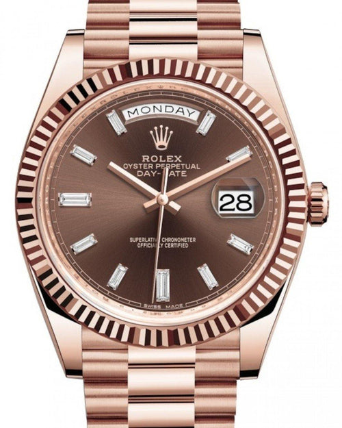 Men's Rolex Day-Date 40 Rose Gold Chocolate Diamond Dial & Fluted Bezel President Bracelet 228235 - BRAND NEW - Global Timez