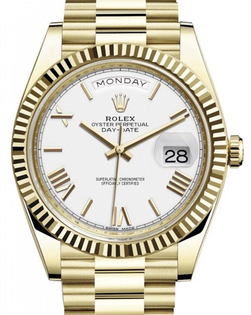 Men's Rolex Day-Date 40 Yellow Gold White Roman Dial & Fluted Bezel President Bracelet 228238 - BRAND NEW - Global Timez