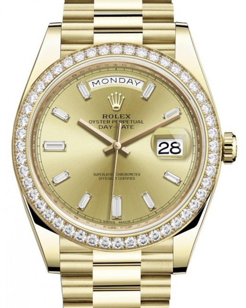 Men's Rolex Day-Date 40 Yellow Gold Champagne Diamond Dial & Diamond Bezel President Bracelet 228348RBR - BRAND NEW - Global Timez