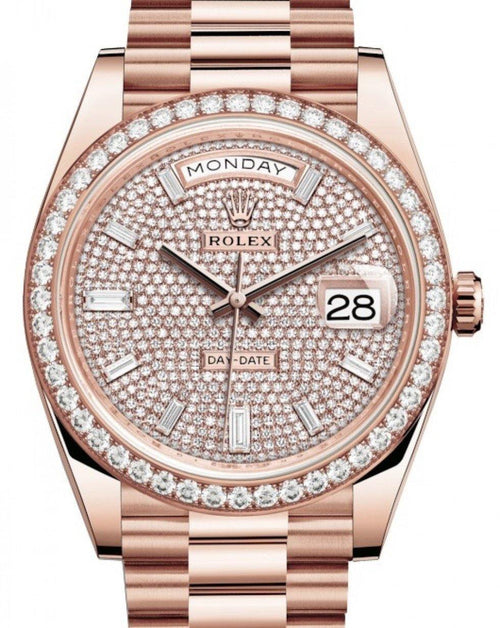 Men's Rolex Day-Date 40 Rose Gold Diamond Pave Dial & Diamond Bezel President Bracelet 228345RBR - BRAND NEW - Global Timez