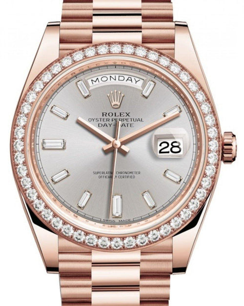 Men's Rolex Day-Date 40 Rose Gold Sundust Diamond Dial & Diamond Bezel President Bracelet 228345RBR - BRAND NEW - Global Timez