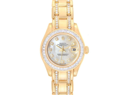 Ladies Rolex Pearlmaster Yellow Gold Two Row Diamond Bracelet Ladies Watch 80308 PRE-OWNED