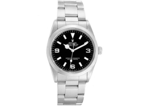 Men's Rolex Explorer I 36mm Black Dial Automatic Steel Mens Watch 14270 PRE-OWNED - Global Timez