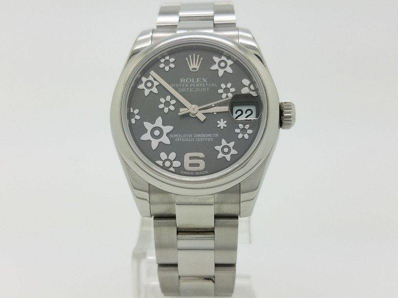 Ladies ROLEX 178240 DATEJUST 31 DARK RHODIUM RAISED FLORAL MOTIF DIAL STEEL LADIES PRE-OWNED