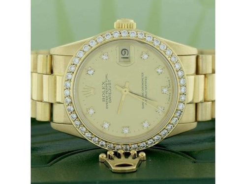 Men's Rolex President Datejust Midsize Gold Factory Diamond Dial 68278 W/Diamond Bezel PRE-OWNED - Global Timez