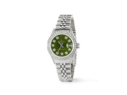 Ladies Rolex Datejust 26mm Steel Jubilee Diamond Watch W/Royal Green Dial PRE-OWNED - Global Timez