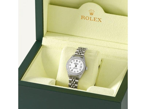 Ladies Rolex Datejust 26mm Steel Jubilee Diamond Watch W/Stone White Dial PRE-OWNED - Global Timez