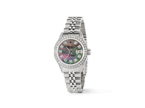 Ladies Rolex Datejust 26mm Steel Jubilee Diamond Watch W/Tahitian MOP Dial PRE-OWNED - Global Timez