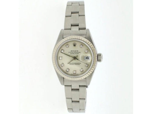 Ladies Rolex Datejust 18K Gold/Steel 26mm Factory Silver Diamond Dial Watch 79174 PRE-OWNED - Global Timez
