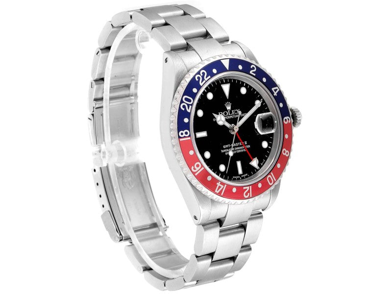 Men's Rolex GMT Master II Blue Red Pepsi Bezel Steel Mens Watch 16710 PRE-OWNED