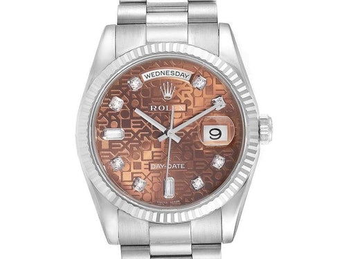 Men's Rolex President Day-Date White Gold Diamond Mens Watch 118239 Unworn BRAND NEW - Global Timez