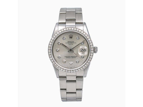 Ladies Rolex Oyster Perpetual Date 15010 34mm Watch PRE-OWNED - Global Timez