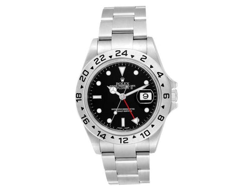Men's Rolex Explorer II 40 Black Dial Red Hand Automatic Mens Watch 16570 PRE-OWNED - Global Timez