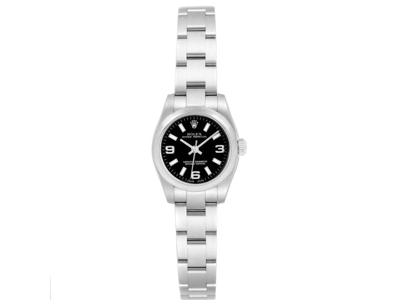 Ladies Rolex Oyster Perpetual Nondate Black Dial Ladies Watch 176200 PRE-OWNED