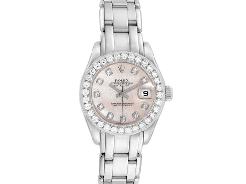 Ladies Rolex Pearlmaster White Gold MOP Diamond Ladies Watch 80299 Box Papers PRE-OWNED
