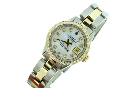 Ladies Rolex Two-Tone 14K/SS Datejust White MOP Diamond PRE-OWNED - Global Timez