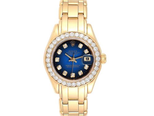 Ladies Rolex Pearlmaster Yellow Gold Vignette Diamond Dial Ladies Watch 69298 PRE-OWNED