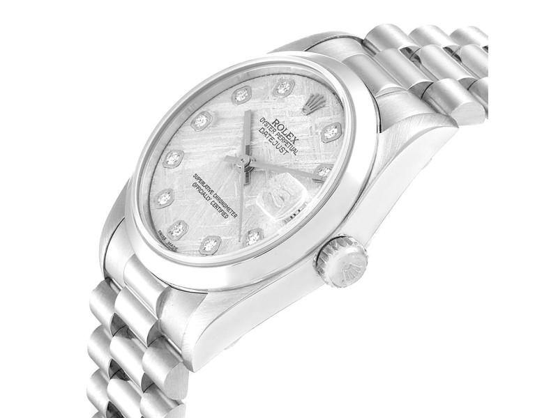 Ladies Rolex President Midsize Platinum Meteorite Diamond Ladies Watch 68279 PRE-OWNED