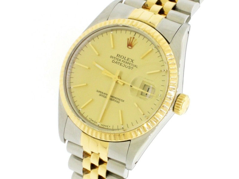 Men's Rolex Datejust 2-Tone Champagne Dial 36mm Jubilee Watch 16013 PRE-OWNED