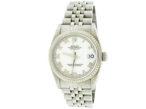 Ladies Rolex Datejust 18K/SS White Roman Dial 31mm Midsize Watch 68274 PRE-OWNED - Global Timez