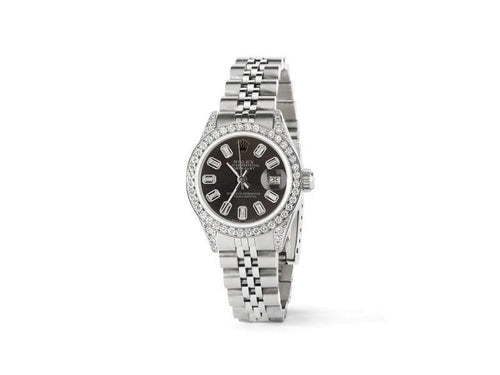 Ladies Rolex Datejust 26mm Steel Jubilee Diamond Watch W/Rhodium Grey Baguette Dial PRE-OWNED - Global Timez