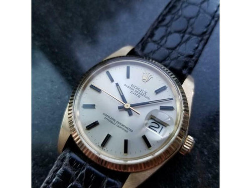 Men's ROLEX  14K Gold Oyster Perpetual Date 1503 Automatic, C.1978 Vintage LV688 PRE-OWNED - Global Timez