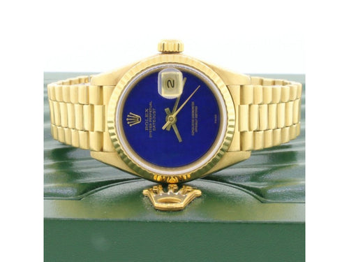 Ladies Rolex President Datejust Ladies Yellow Gold 26MM Blue Lapis Dial Watch 69178 PRE-OWNED