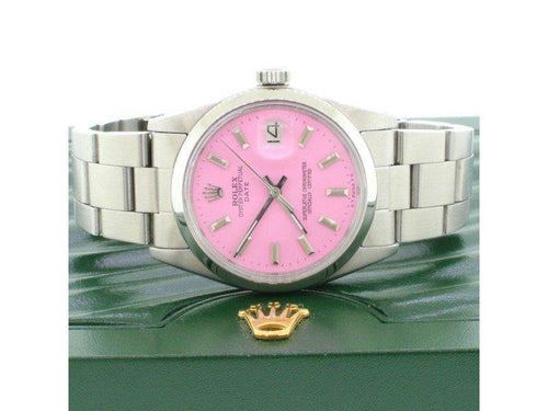 Men's Rolex Oyster Perpetual Date 34mm Vintage Lavender Dial Stainless Steel Watch PRE-OWNED - Global Timez