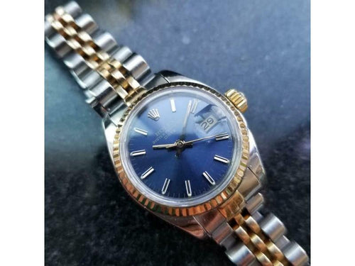 Ladies ROLEX Ladies 18k Gold & Ss Oyster Date Blue Dial, C.1984 W/Box And Paper LV973 PRE-OWNED - Global Timez