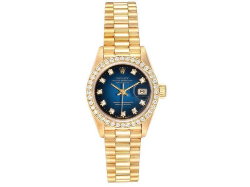 Ladies Rolex President Yellow Gold Blue Vignette Diamond Ladies Watch 69138 PRE-OWNED - Global Timez