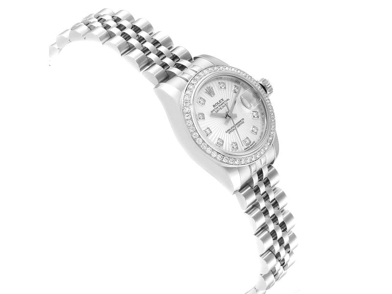 Ladies Rolex Datejust 26 Steel White Gold Diamond Ladies Watch 179384 PRE-OWNED
