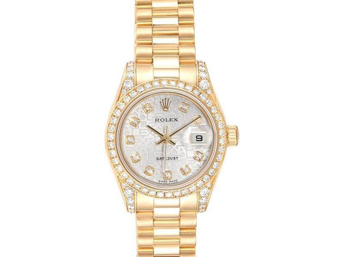 Ladies Rolex President Yellow Gold Diamond Dial Bezel Lugs Ladies Watch 179158 PRE-OWNED - Global Timez