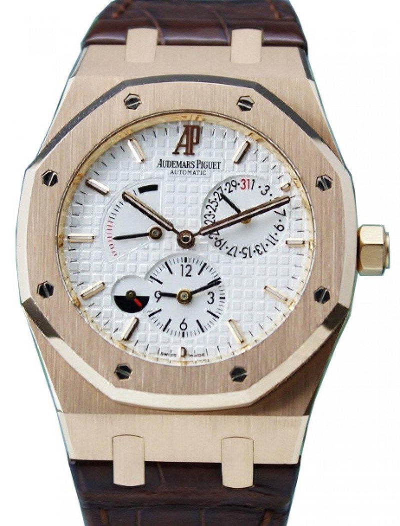 Men's Audemars Piguet 26120OR.OO.D088CR.01 Royal Oak Dual Time 39mm Silver Index Rose Gold Leather BRAND NEW