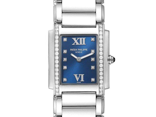 Ladies Patek Philippe Twenty-4 Blue Dial Steel Diamond Ladies Watch 4910 PRE-OWNED - Global Timez