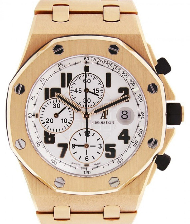 Men's Audemars Piguet 26170OR.OO.1000OR.01 Royal Oak Offshore Chronograph 42mm Silver Arabic Rose Gold Automatic BRAND NEW