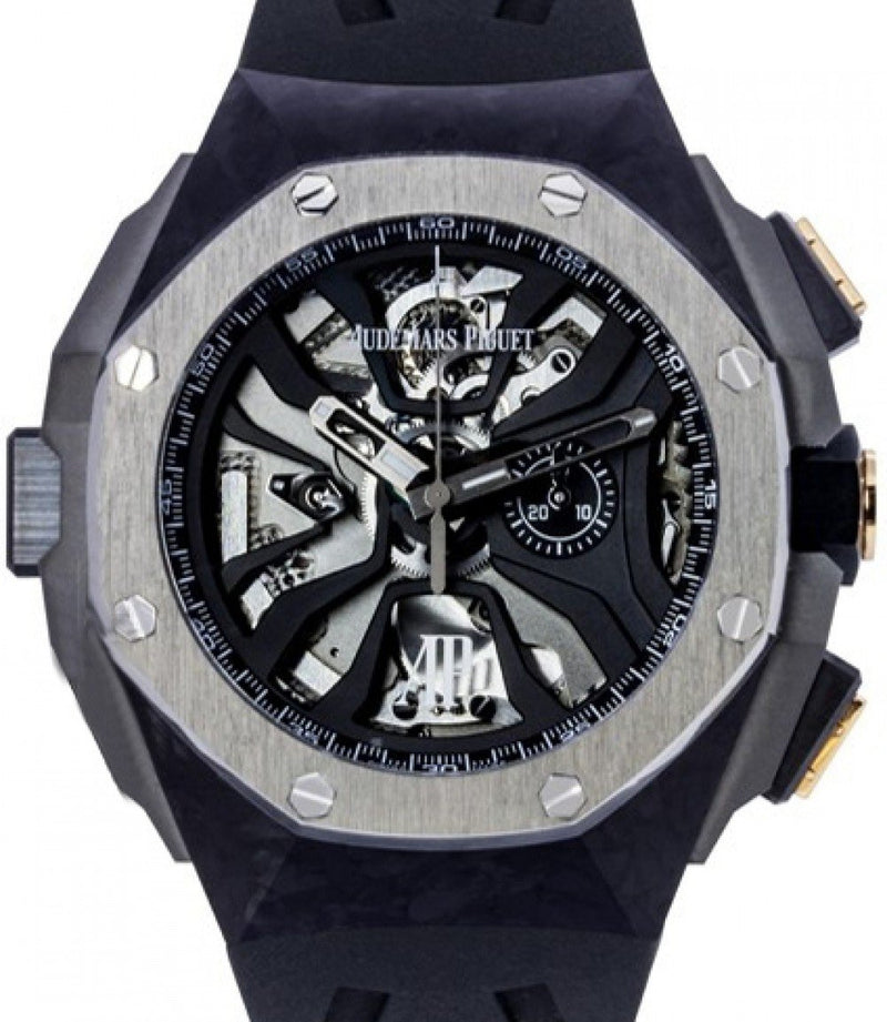 Men's Audemars Piguet 26221FT.OO.D002CA.01 Royal Oak Concept Laptimer Michael Schumacher 44mm Openworked Forged Carbon Black Rubber BRAND NEW